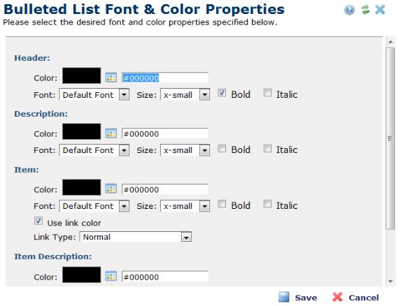 bulleted list font color properties