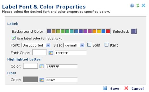 Label Font Color Properties