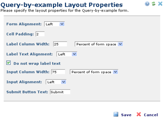 query by example layout properties