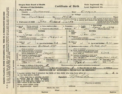 order oregon state birth certificate