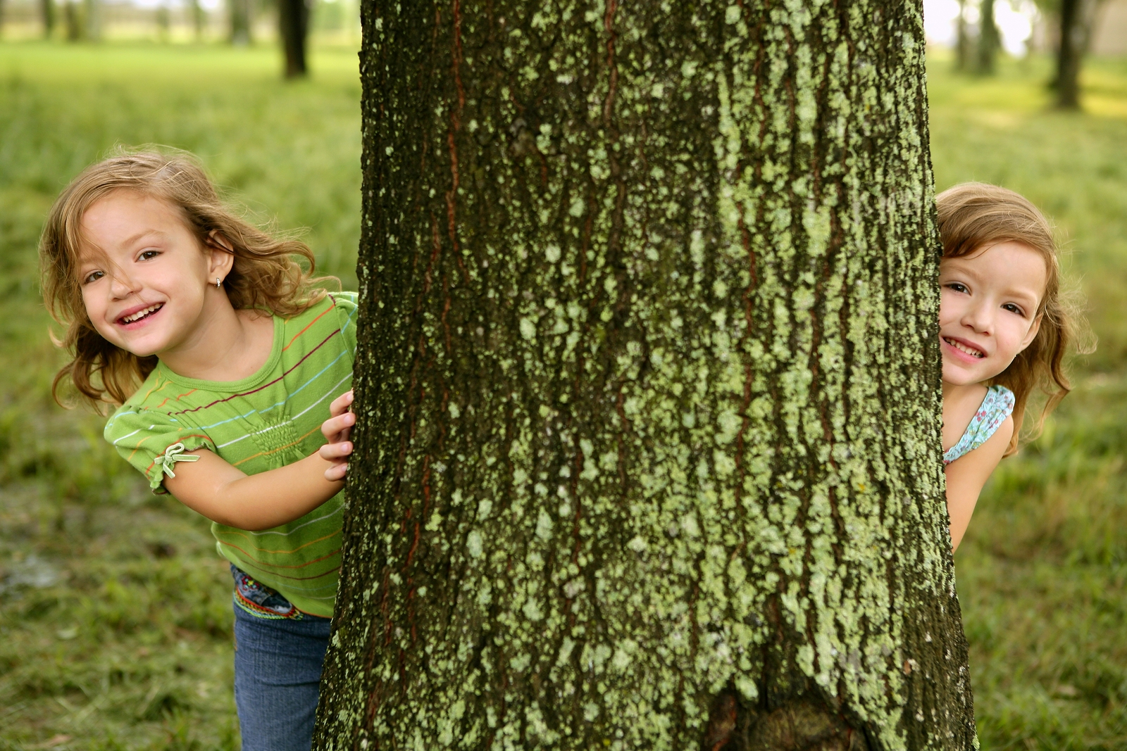 Two twin girls playing hide and seek behind a tree