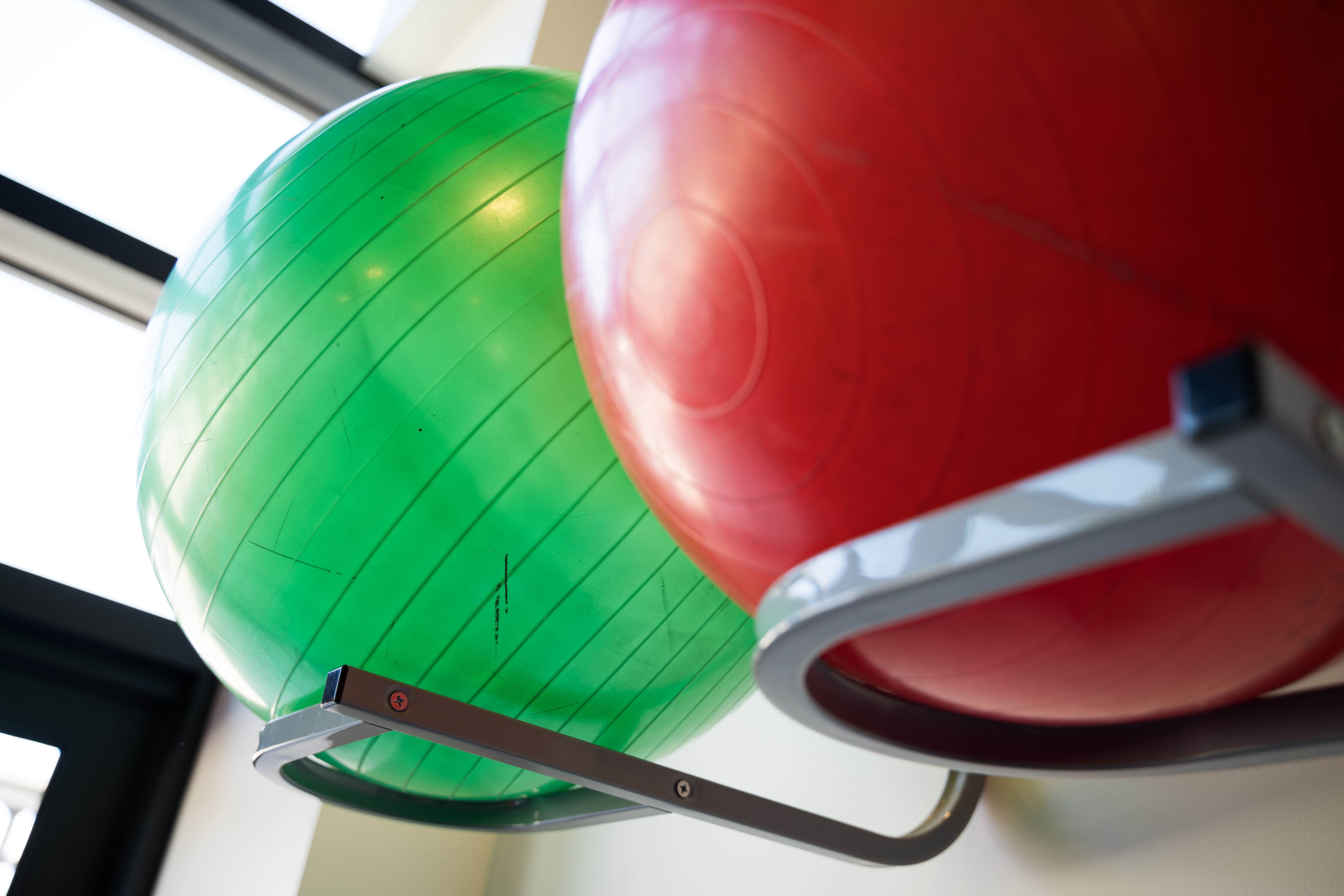 A pair of exercise balls.
