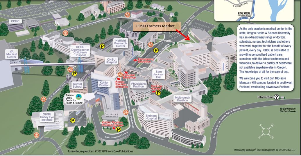 Map of farmers market location on Marquam Hill campus