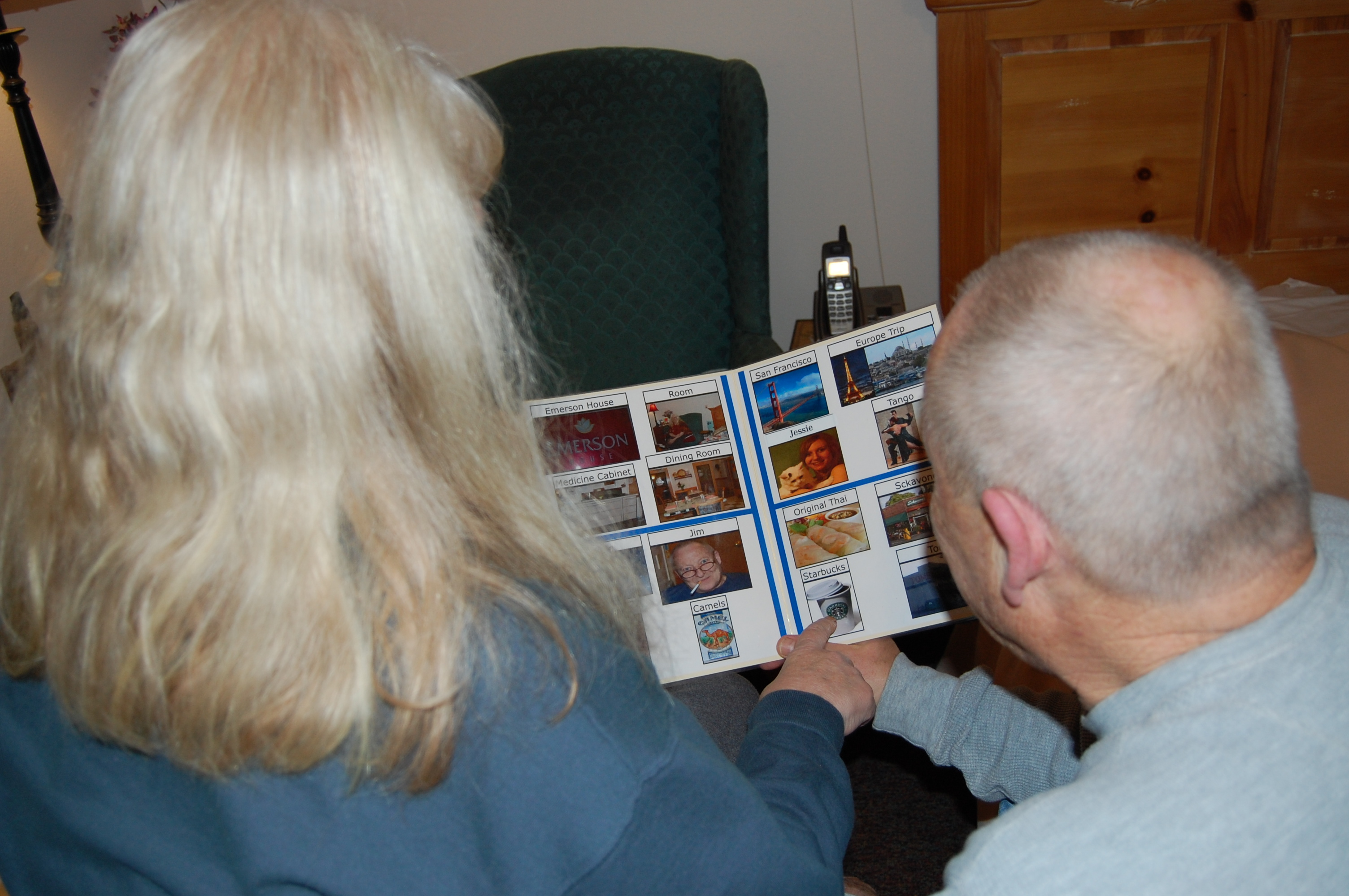 A woman and man with gray hair using an image grid