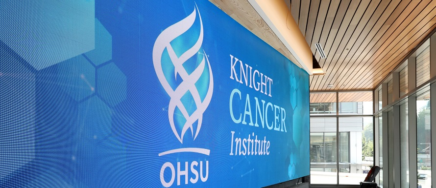 OHSU Knight Cancer Institute entry way sign