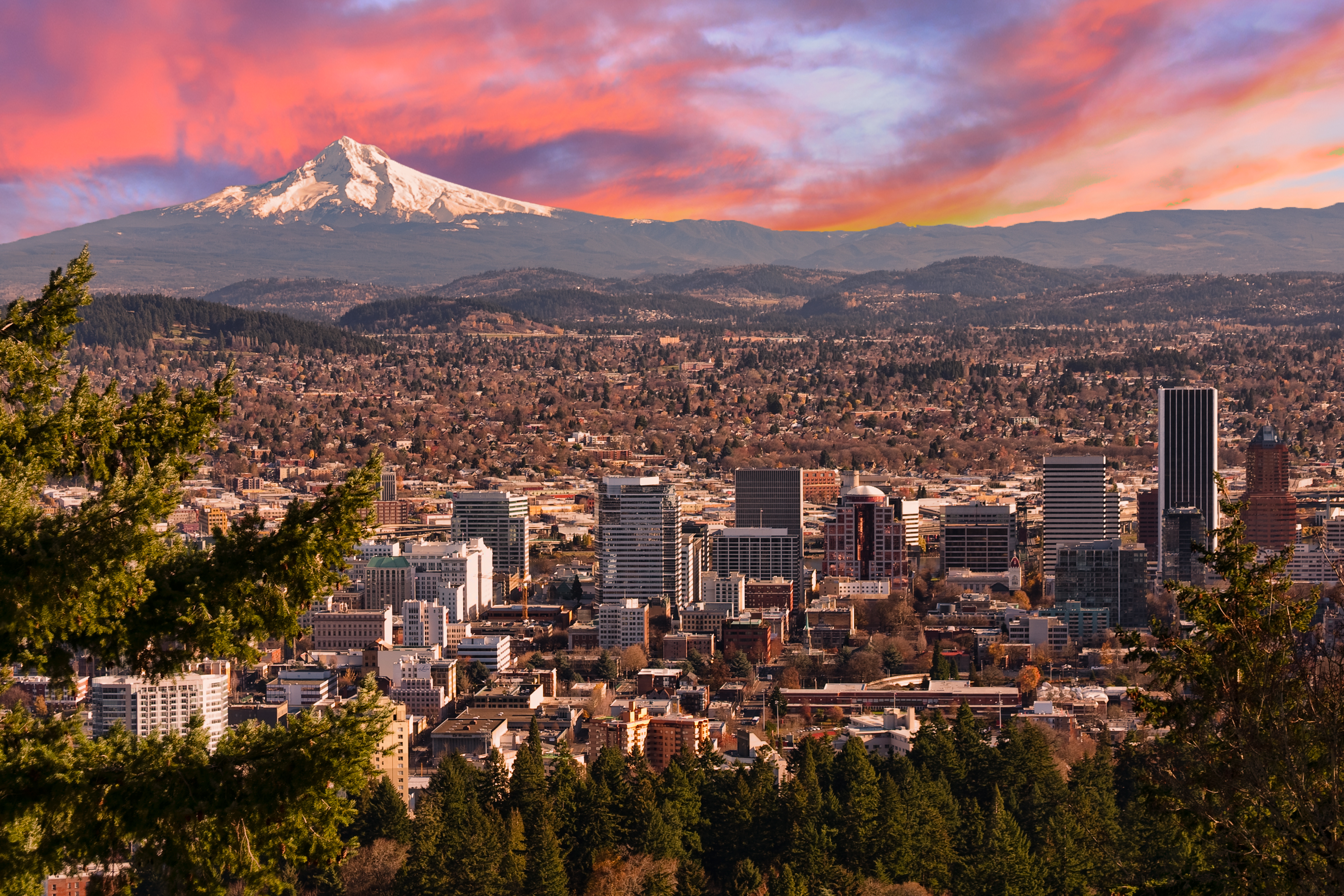 Portland skyline at sunset with Mt. Hood in background