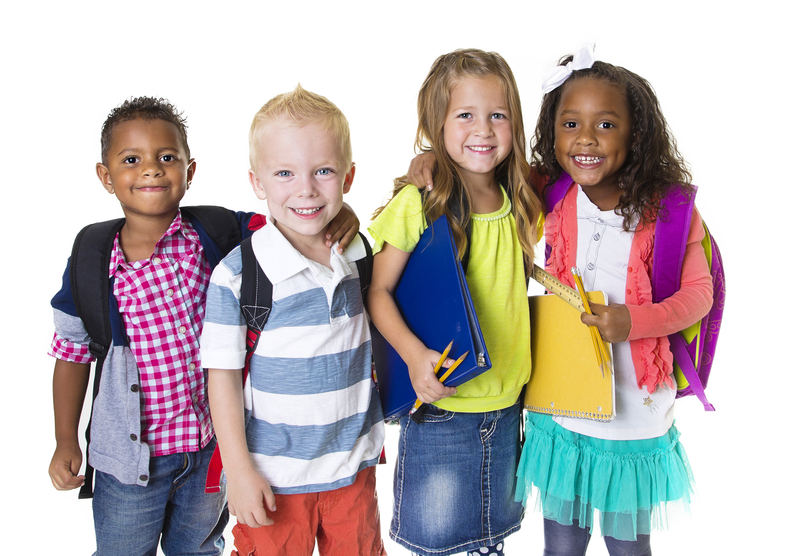 four diverse children with school supplies