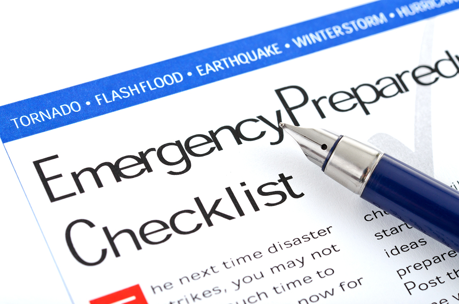 close up of emergency plan checklist
