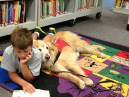 Boy lying on his stomach reading with his dog leaning on him