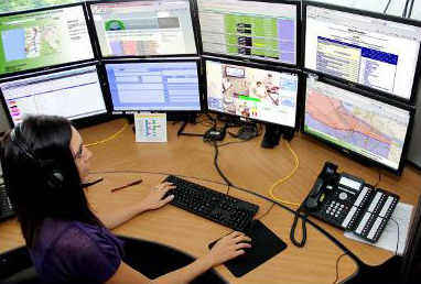 emergency operator tracks activity in dispatch center