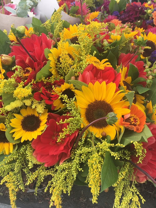sunflowers and bouquets of flowers