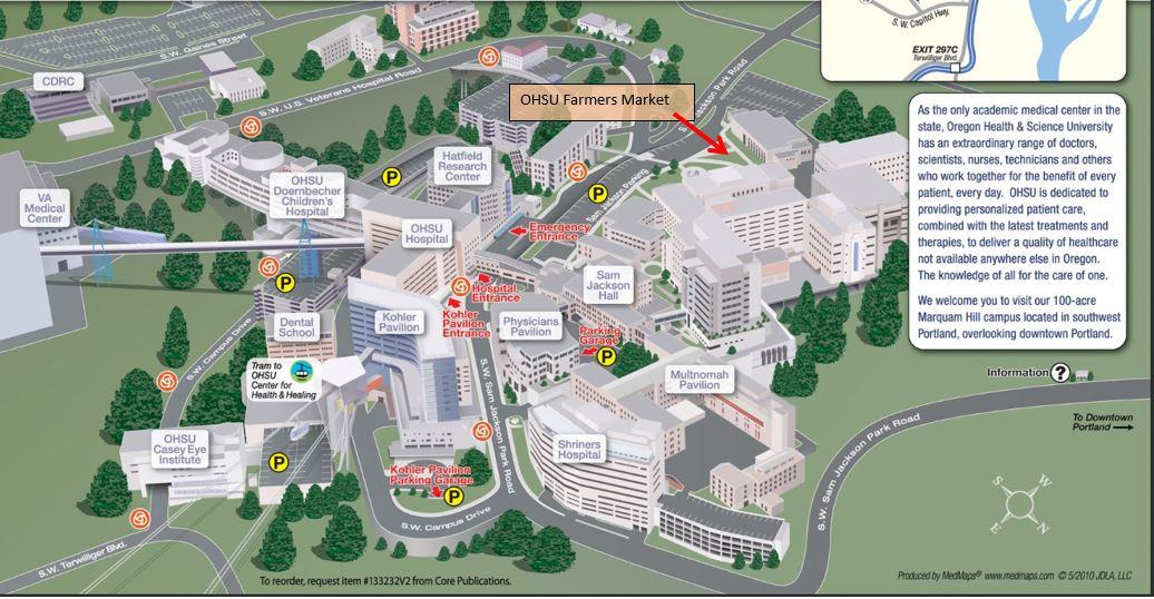 Farmers Market On Campus Map | OHSU