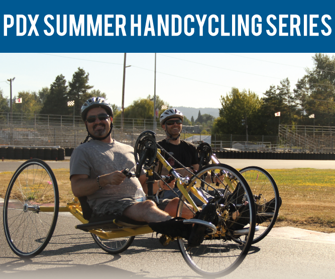 two handcyclists at riding around Portland International Raceway during the PDX Summer Handcycling Series