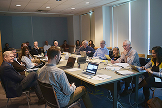 Photo of OHWC External Advisory Board meeting in a conference room