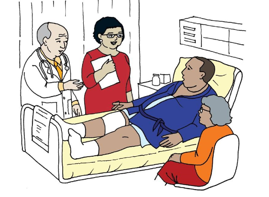 Toolkit illustration of a patient, providers and support staff in a hospital room