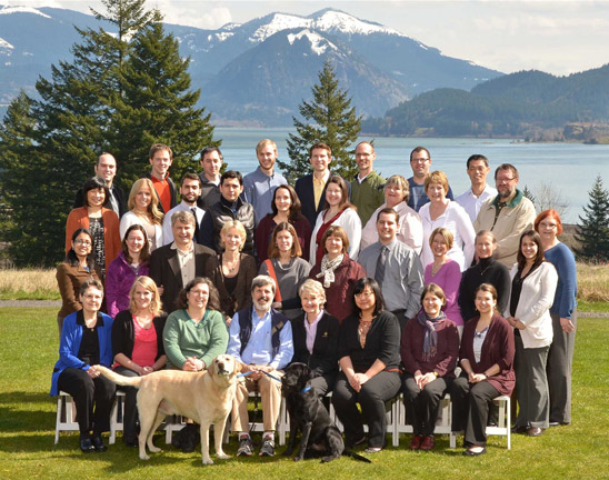 An outdoor, posed photo of 35 members of the Oregon group who participated at a BBBD Annual meeting