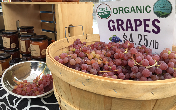 Baird Family Orchards- Grapes in a barrel
