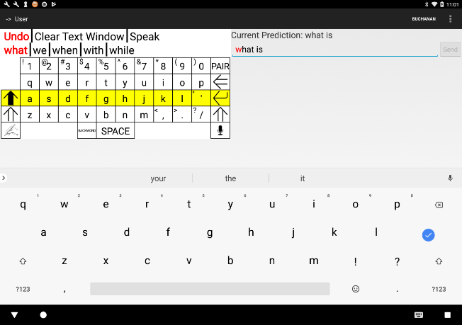 This is an image of the SmartPredict conversation partner keyboard interface.