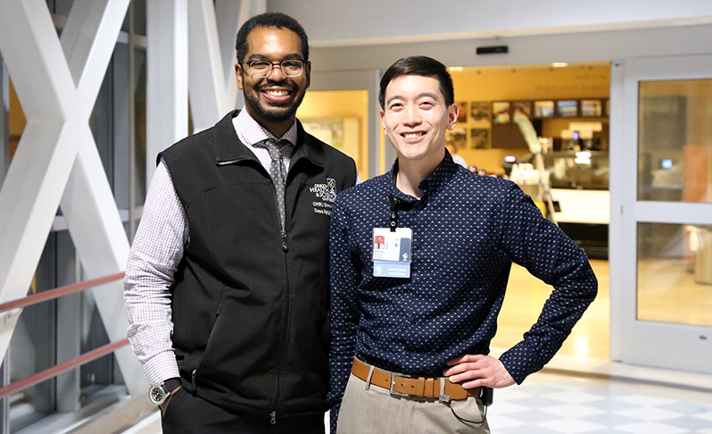 Donn Spight, M.D. (left), and Anthony Cheng, M.D. R'16, are the school's inaugural diversity navigators.
