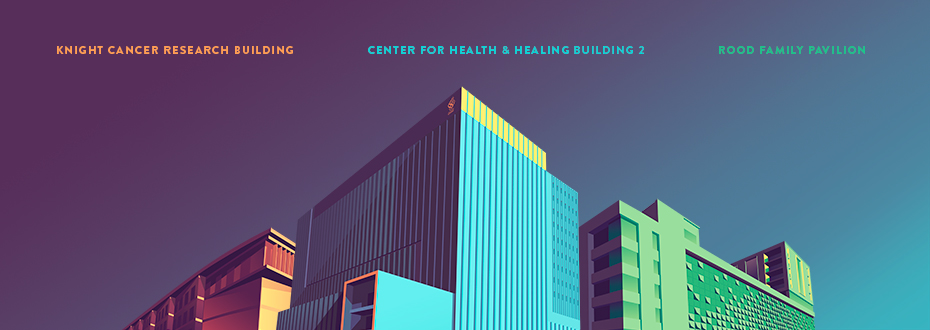 Graphic Art Depiction of the Center for Health & Healing Building 2, the Knight Cancer Research Building and the Gary and Christine Rood Family Pavilion.