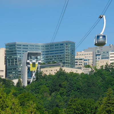 Portland Aerial Tram cabin and OHSU upper campus