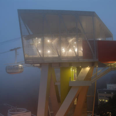 Upper terminal of the Portland Aerial Tram with cabin on a foggy night