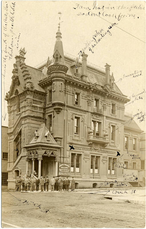 Exterior view of the North Pacific Dental College at NW 15th and Couch, circa 1910