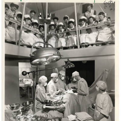 Nursing students observe a procedure at Multnomah County Hospital, circa 1945