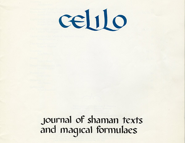 Title page for the 1970 student journal, Celilo: Journal of Shaman Texts and Magical Formulaes
