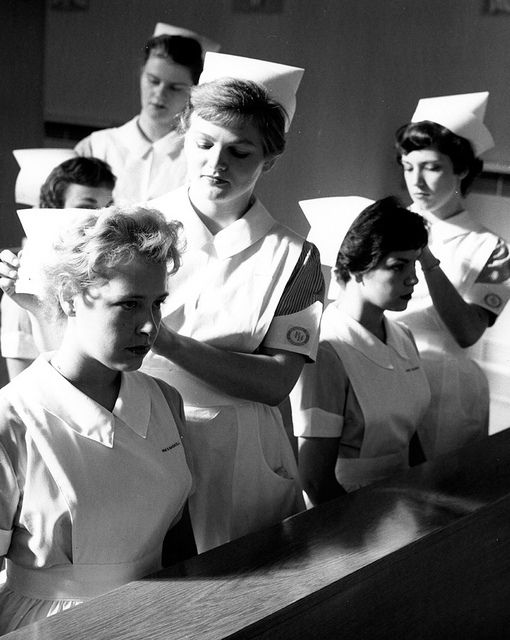 Historical nurse photo in black and white