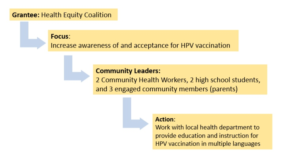 Focus area 2 diagram example: Increase awareness of and acceptance for HPV vaccination