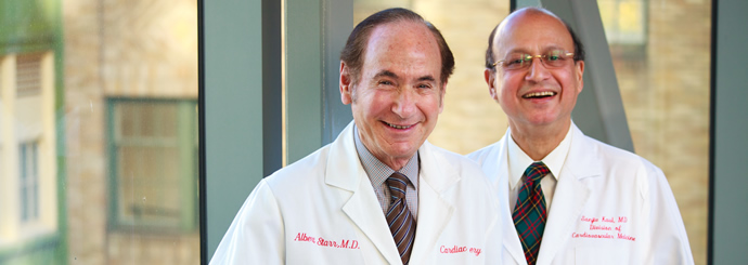 Dr. Albert Starr (left) and Dr. Sanjiv Kaul, providers and pioneers at the Knight Cardiovascular Institute
