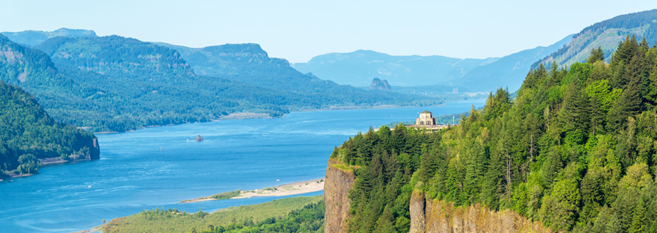 Scenic view of the Columbia River Gorge.