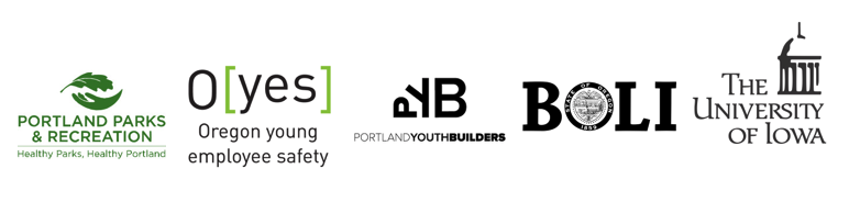 PUSH Promoting U through Safety & Health Young Workers Study Partners include Portland Parks and Recreation, Oregon Young Employee Safety (OYES), Portland Youth Builders, Oregon Bureau of Labor and Industry and The University of Iowa. Photograph of each of the partner's logos.