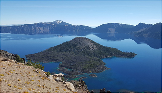 Crater Lake with island in the middle of it in Southern Oregon