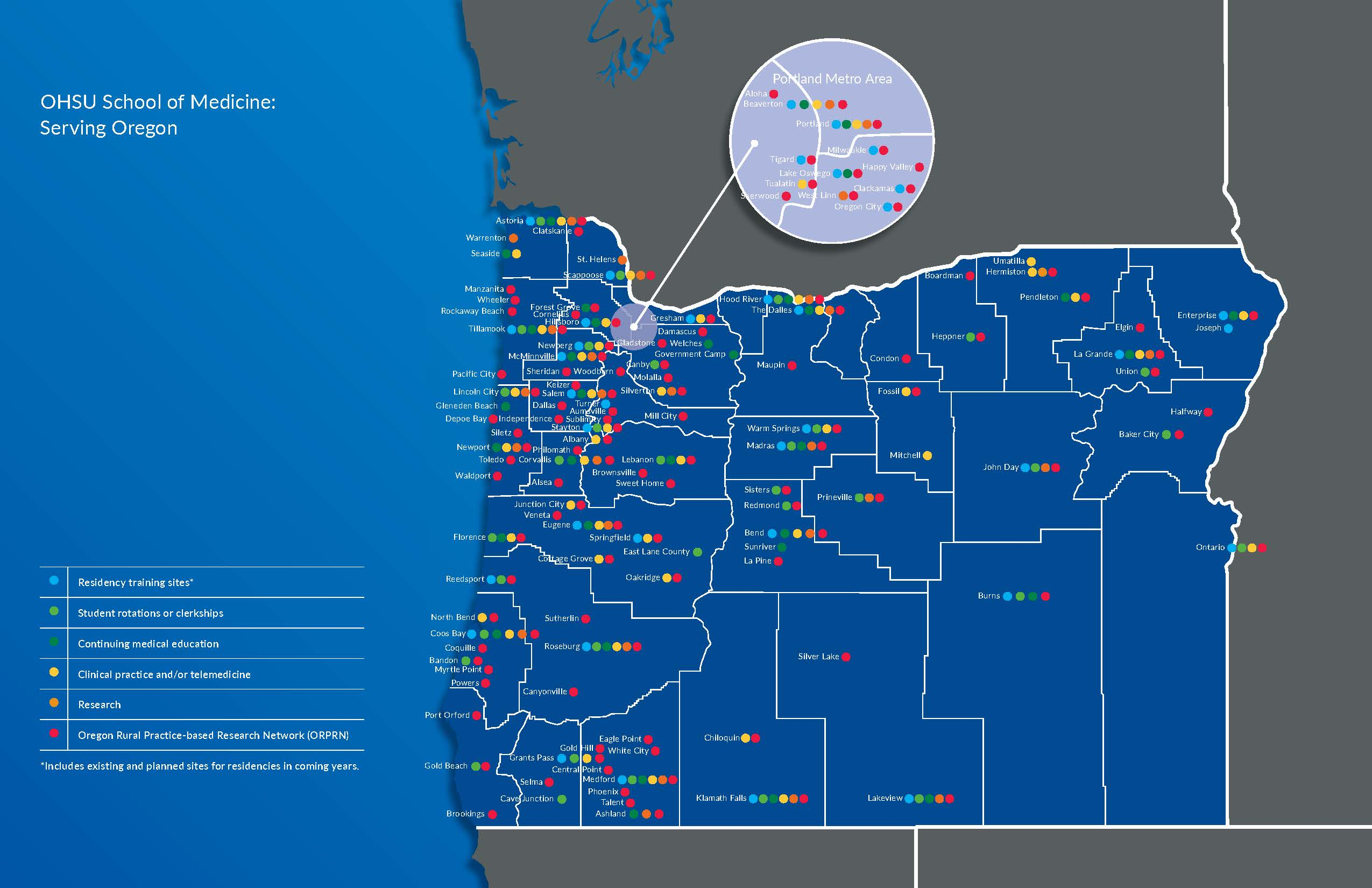 School of Medicine - statewide reach in serving all Oregonians, updated February 2019