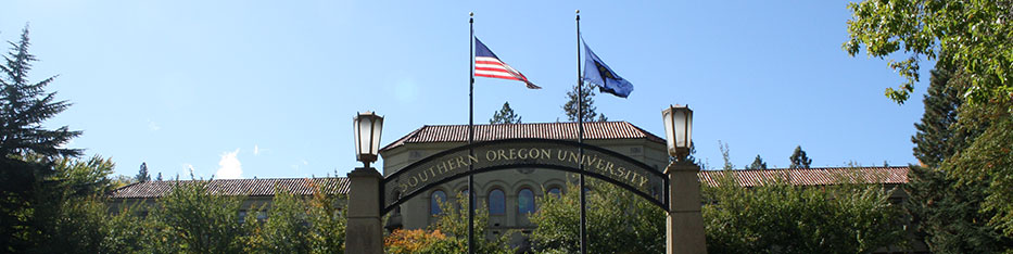 SOU Campus Photo entrance with flags