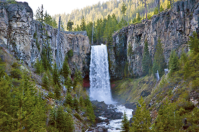 Tumalo Falls waterfall in Central Oregon flowing heavily
