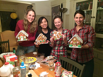 Residents building gingerbread houses