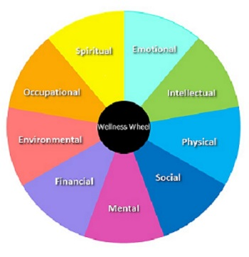 Multi-colored image of a well-functioning wellness wheel that is in balance with wellness as the hub and equal sections representing spiritual, emotional, intellectual, occupational, environmental, physical, financial, mental, and social sections making up the wheel.