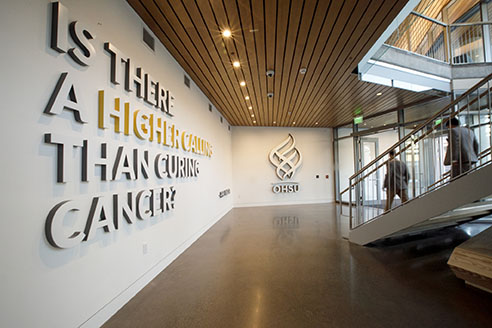 The entry way to the OHSU Knight Cancer Institute