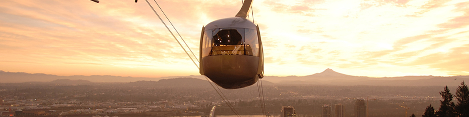 OHSU tram at sunrise