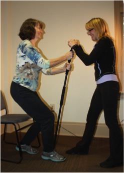 COMPASS study home care workers using safe lifting tools