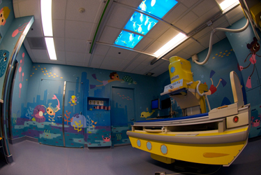 DCH Radiology Fluoro room painted with a Underwater scene