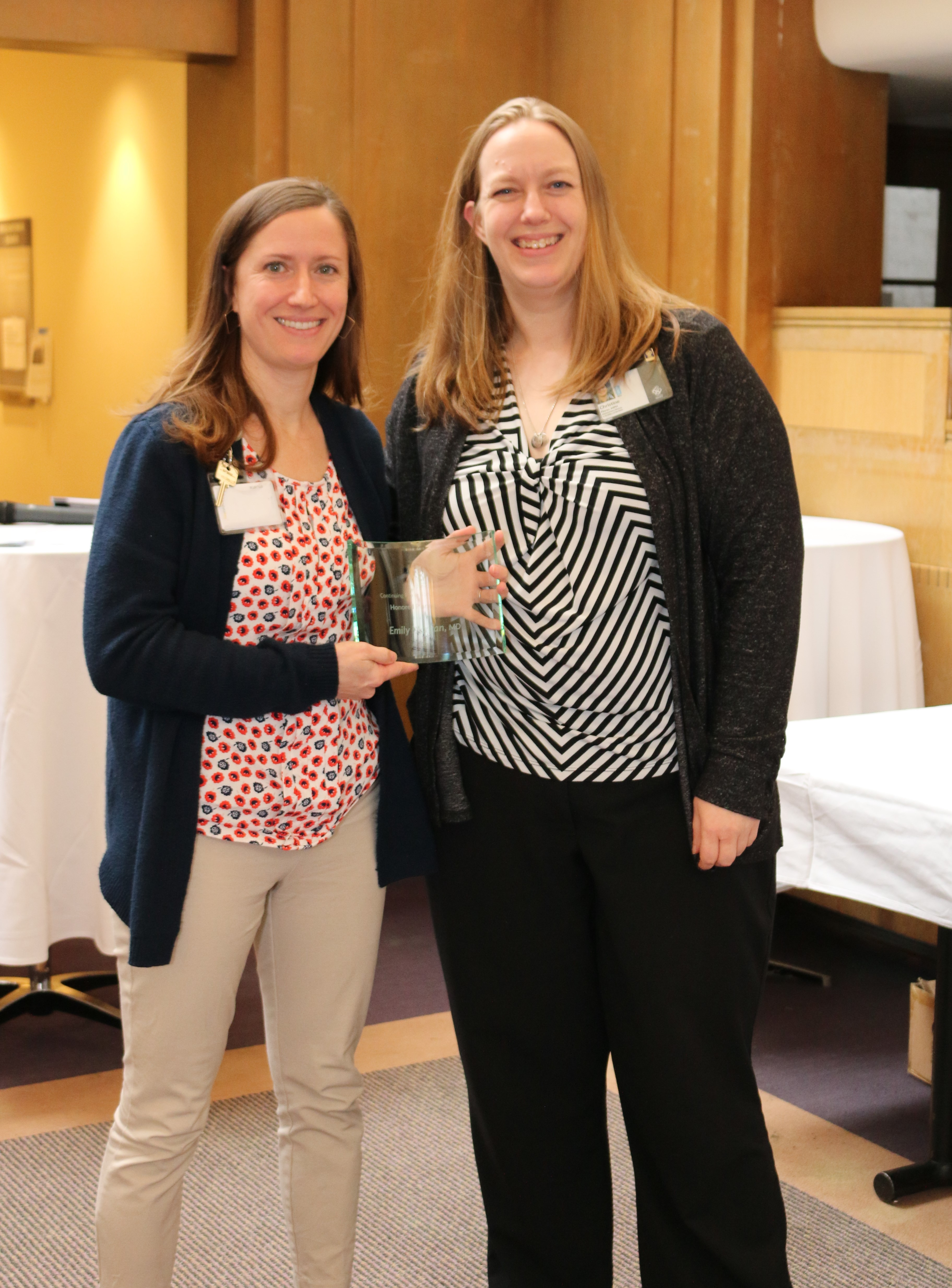 Emily Morgan, MD is presented the Honored Planner Award at CPD/FD Strategic Planning Retreat 2019