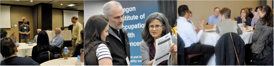 Outreach at the Oregon Institute of Occupational Health Sciences hosts symposia (left), is a presence at meetings and trade shows including the Governor's Occupational Safety and Health (GOSH) meeting (center) and smaller meetings like the Oregon Healthy Workforce Center's Partners' Luncheon (right)