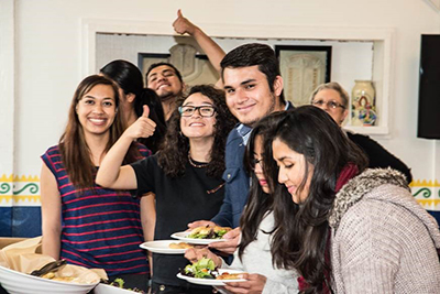 Students eating food