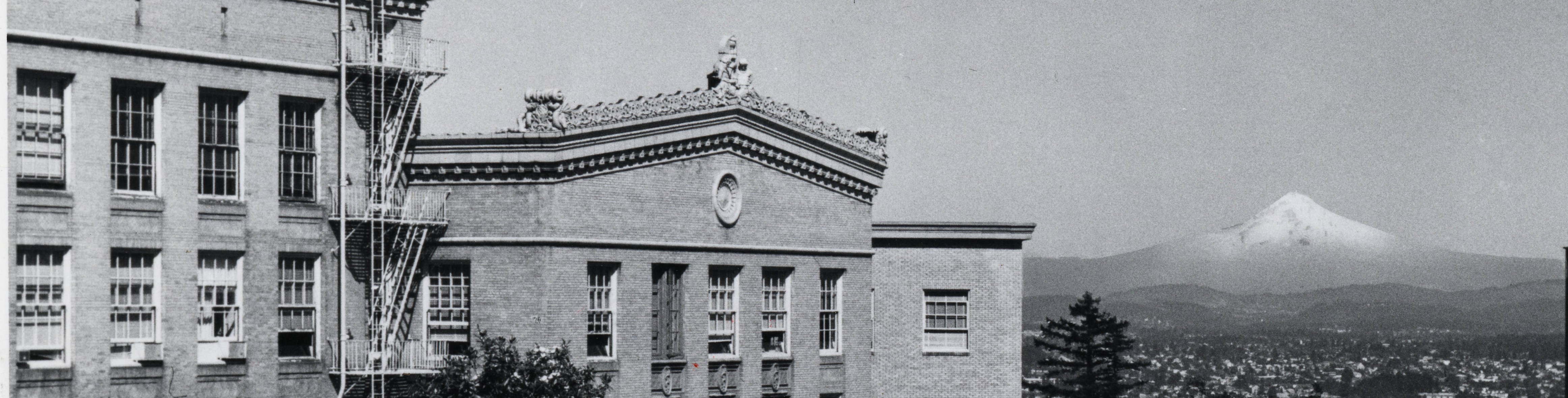 old photo of Mackenzie Hall, Baird Hall and Mt Hood cropped for radiology site