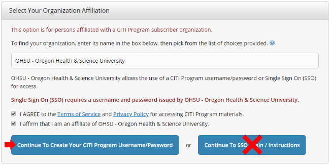 An image showing what boxes to check to affiliate with OHSU.