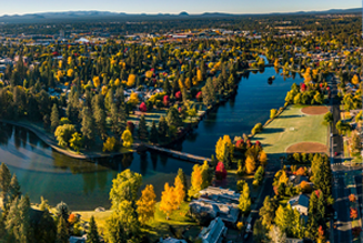 Aerial view of Bend and the Deschutes River in Central Oregon
